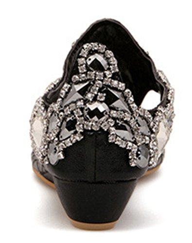 Dressy Low Top Aisun Sandals Women's Bling Rhinestones Black pAwwxSvq