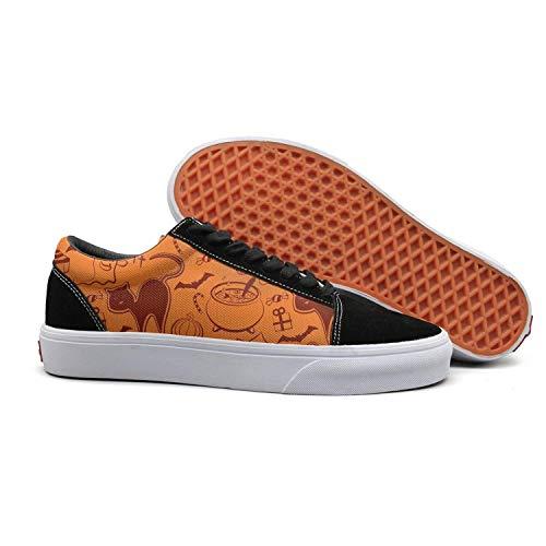 Cat halloween pumpkin ghost beige Women Canvas Shoes oldskoo athletic shoes low top