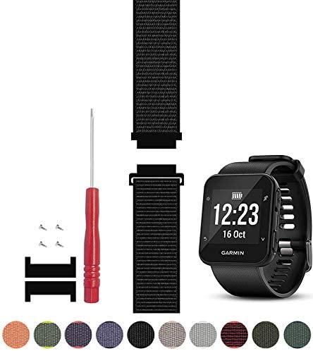 C2D JOY Compatible with Garmin Forerunner 35 Watch Band Replacement (Adapter, Screws and Screwdriver) Sport Mesh Strap Nylon Weave Garmin 35 Running ...