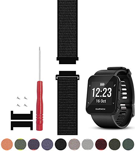 C2D JOY Compatible with Garmin Forerunner 35 Watch Band Replacement Adapter, Screws and Screwdriver Sport Mesh Strap Nylon Weave Garmin 35 Running Watch Accessories Watchband – 10 , S 5.0-7.0 in.