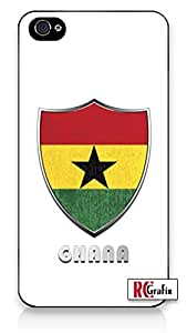 diy phone casePremium Ghana Flag Badge Direct UV Printed iPhone 4 Quality Hard Snap On Case for iPhone 4 4S 4G - AT&T Sprint Verizon - Black Framediy phone case