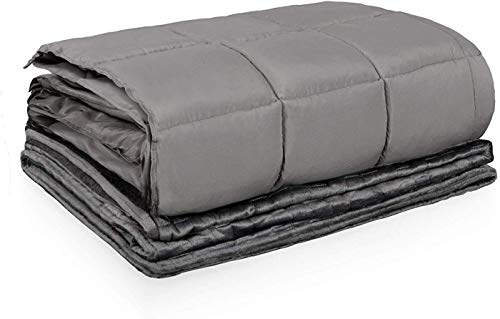 Cheap HomGarden Weighted Blanket Premium Washable Cool Heavy Blanket with Individual Duvet Cover (48 x72 15lbs Grey) fit Twin Full Size Bed for Adult Black Friday & Cyber Monday 2019