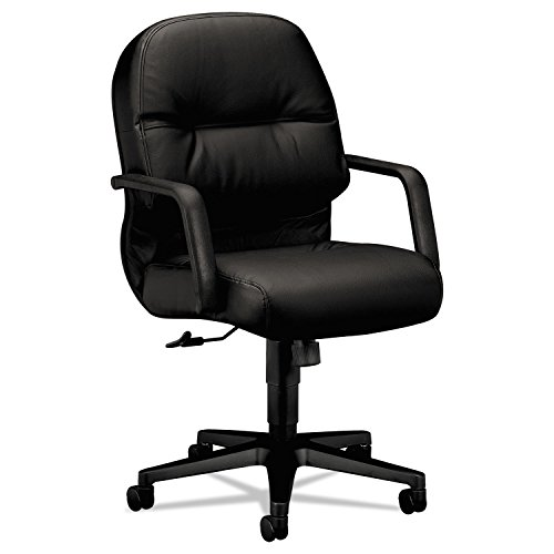 - HON 2092SR11T 2090 Pillow-Soft Series Managerial Leather Mid-Back Swivel/Tilt Chair, Black