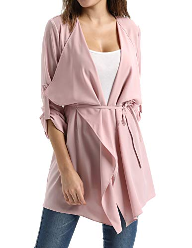 Open Trench - Women's Long Waterfall Lapel Wrap Coat Jacket Outerwear(S,Pink)
