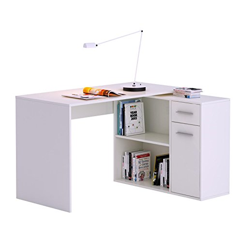 Eckschreibtisch Schreibtisch Computertisch LENA, in weiß mit Regal Kinderschreibtisch 120x75x91,5 cm
