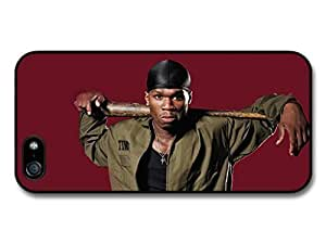 AMAF ? Accessories 50 Cent Gangster with Baseball Bat Red Background case for iPhone 5 5S