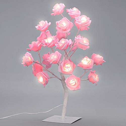 SUPOW Table Lamp Adjustable Rose Flower Desk Lamp Pink Tree Light for Wedding Living Room Bedroom Party Home Decor LED Lights (Pink)