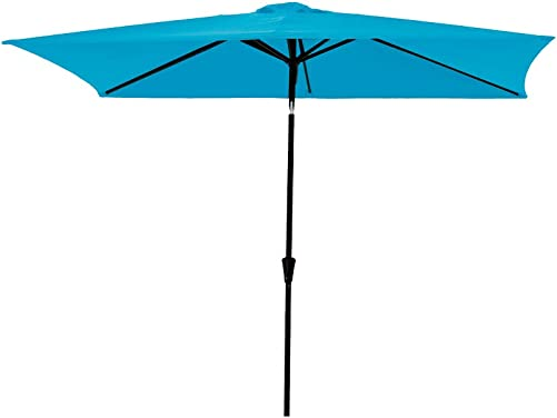 C-Hopetree Rectangular Outdoor Patio Umbrella with Tilt 6.5 x 10 ft – Aqua Blue