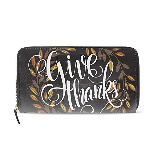(Womens Mens Large Capacity Long Wallet Card Holder Fashion Card For Thanksgiving Day On The Blackboard Clutch Handbag)