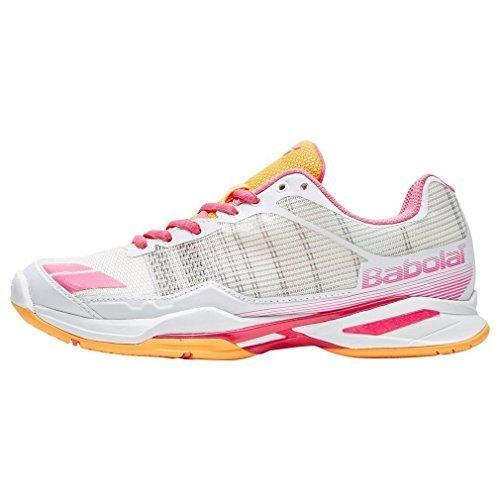 Babolat Women's Jet Team All Court Tennis Shoe, White/Orange/Pink (6.5) (Babolat Tennis Shoes)
