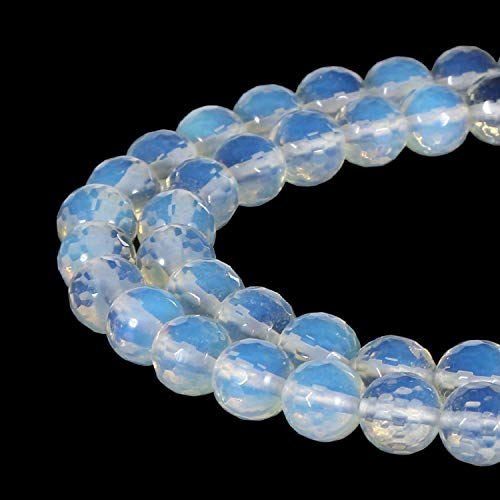8mm Faceted Round White Opalite Beads Semi Precious Gemstone Beads for Jewelry Making Strand 15 Inch (47-50pcs)