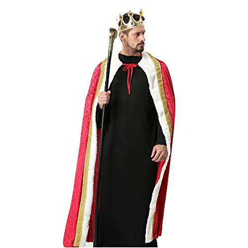 Winter Fantasy Halloween Costumes Cape Velvet King Queen Regal Robe Costume ()