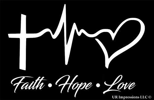 Faith Hope Love Decal Vinyl Sticker|Cars Trucks Walls Laptop|WHITE|6.25 X 4.3 In|URI034