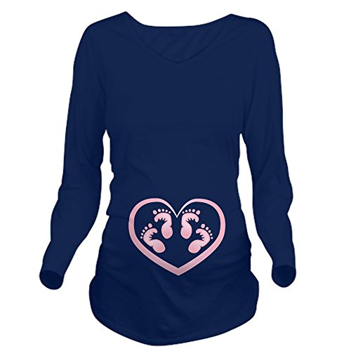 Twins Footprints Long Sleeve Maternity T - Long Sleeve Maternity T-Shirt, Cute and Funny Pregnancy Tee (Twins Baby Maternity T-shirt)