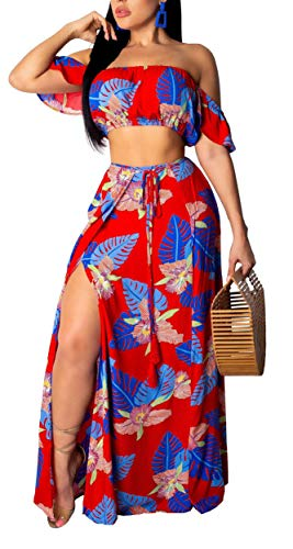 Aro Lora Women's Sexy Off Shoulder Floral Printed Side Slit Two-Piece Maxi Dress XX-Large -