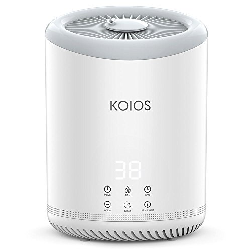 KOIOS Upgrade Top Fill Humidifiers, Ultrasonic Cool Mist Humidifier with 3 Adjustable Mist Settings, Ultra Quiet, Automatic Shut-Off, Sleep Mode, 4 Liter Large Capacity Open Water Tank for Bedroom