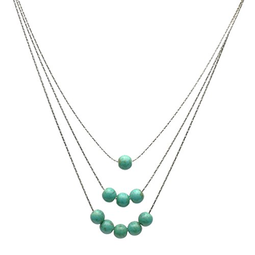(3-Strand Simulated Turquoise Stone Beads Sterling Silver Chain Necklace 16