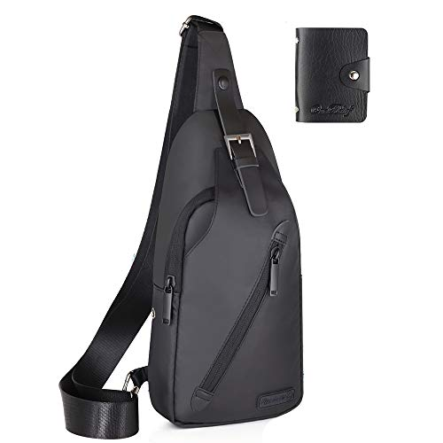 LST Sling Bag Water Resistance Crossbody Chest Backpack Outdoor Cycling Chest Shoulder Unbalance Gym Fashion Bags Sack Satchel for Men & Women Black