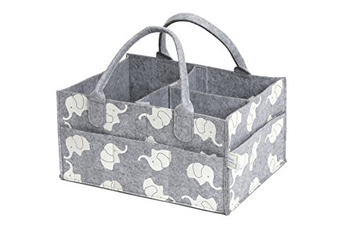 CozyCaddy Grey Diaper Caddy | Store Clothes, Teething Toys and Baby Stuff | Baby Shower Gift | 14