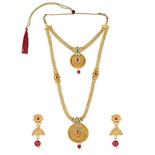 Efulgenz Indian Bollywood Traditional Multi color with Antique Gold  Rhinestone Faceted Round Shape Faux Ruby Emerald Grand Heavy Bridal Designer Jewelry Necklace Set in Antique 18K Gold Tone for Women and Girls