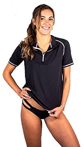 Banana Boat Women's Rashguard Solid Short Sleeve 1/4 Zip Front Swim Shirt 50+ UV Sun Protection Swimsuit Top UPF50+ Black Medium (Swim Shirts Adult Tee)