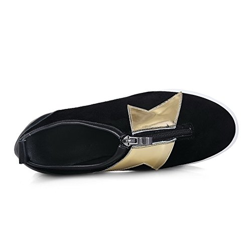 AllhqFashion Mujer Tacón bajo Cremallera Material mezclado Puntera Redonda ZapatosdeTacón Negro