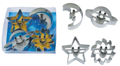 """R & M International Super Cute Set of Space Themed Cookie Cutters - Includes Moon, Saturn, Star and Sun Assorted Sizes from 2.5"""" - 3.5"""""""