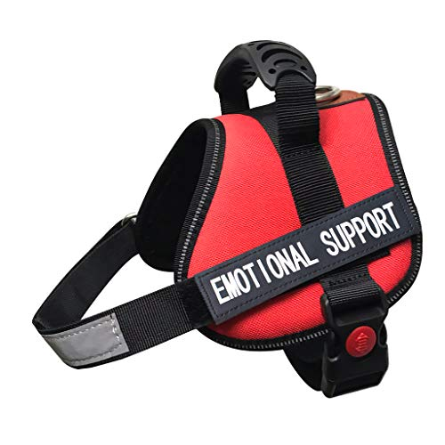ALBCORP Emotional Support Dog Vest - Reflective Harness with Adjustable Straps and 2 Hook and Loop Removable Patches, Woven Polyester & Nylon, Comfy Mesh Padding, Sturdy Handle. Small, Red (Best Emotional Support Dogs)