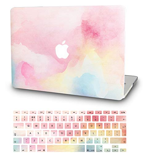 """KECC Laptop Case for MacBook Pro 13"""" (2020/2019/2018/2017/2016) w/Keyboard Cover Plastic Hard Shell A2159/A1989/A1706/A1708 Touch Bar 2 in 1 Bundle (Rainbow Mist)"""