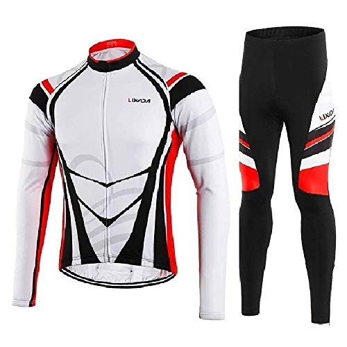Lixada Men s Cycling Jersey Suit Winter Thermal Fleece Long Sleeve Mountain  Bike Road Bicycle Shirt with 3D Tights Padded Pants 674beff67