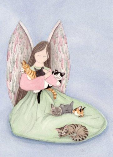 Tabby Tiger Siamese Calico Tuxedo cats and sitting angel / Lynch folk art print (Cat Tabby Tuxedo)