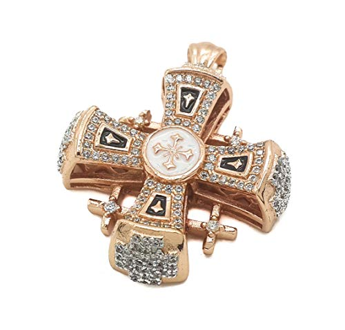 - Nazareth Store Jerusalem Cross Pendant Gold Plated 18K On Sterling Silver Handmade Cross Black Enamel Crystallized Stones 1.3