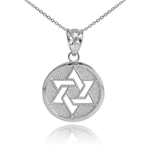 Fine 925 Sterling Silver Milgrain-Edged Medal Jewish Star of David Pendant Necklace, 16