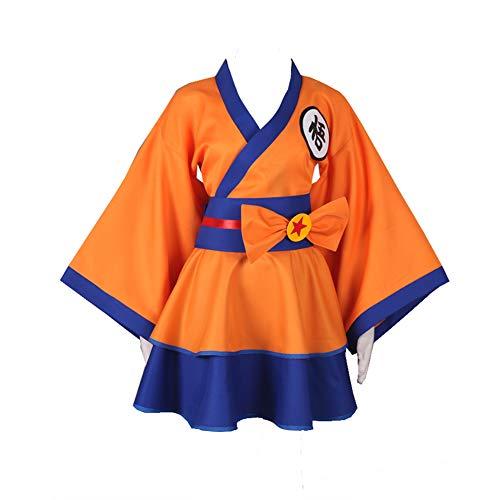 Classical City Dragonball Z Son Goku Kakarotto Character GO Female Lolita Kimono Dress Anime Cosplay Costume (M) Orange