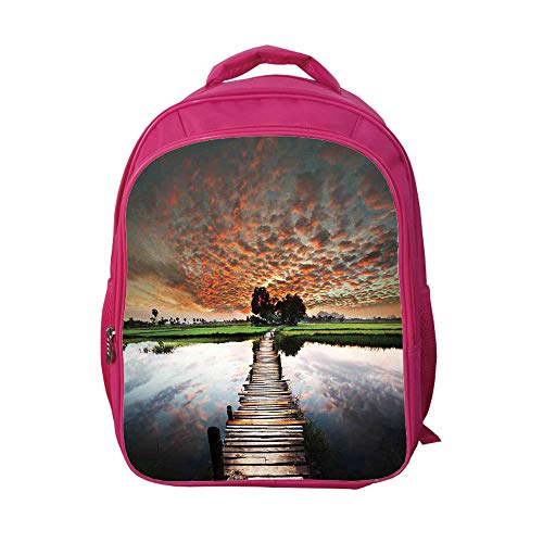 Price comparison product image iPrint School Bags Kid's Backpacks Fashion, Apartment Decor, Old Boardwalk on Tropical River to The Fresh Meadow in The Dusk Burma Myanmar Decorative, 3D Print Design.