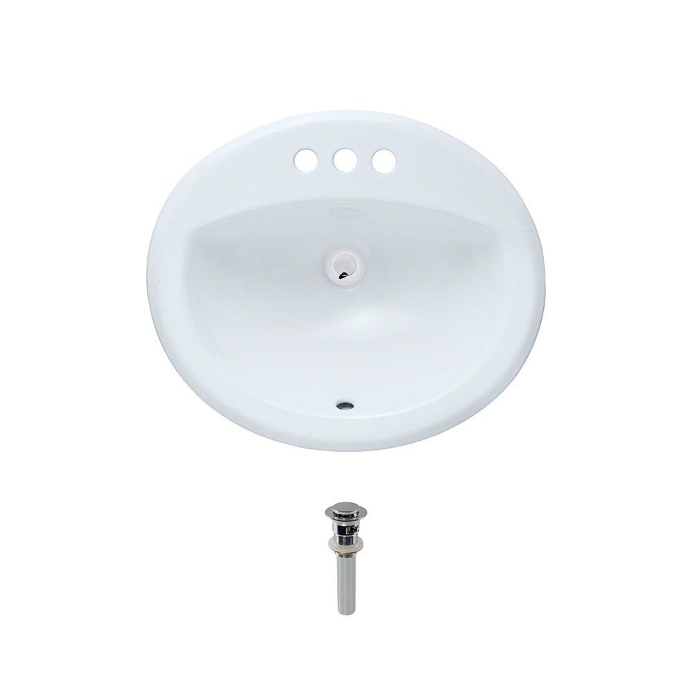 O2018-White Overmount Porcelain Bathroom Sink Ensemble, Chrome Pop-Up Drain