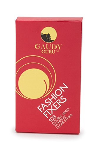 Double Sided, Clear Adhesive Strips (Pack of 108, 3.3in x 0.5in, 30ft) Adjustable Two Side Fabric Hem Tapes for Clothes. #1 Voted in Hollywood. Fashion Fixers by Gaudy Guru