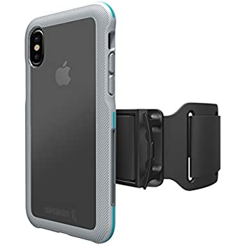 BodyGuardz - Trainr Pro Case, Extreme Impact and Scratch Protection for iPhone 10 (Gray/Mint) - No Armband