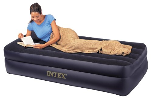 Intex Pillow Rest Twin Airbed with Built-in Electric Pump, Outdoor Stuffs