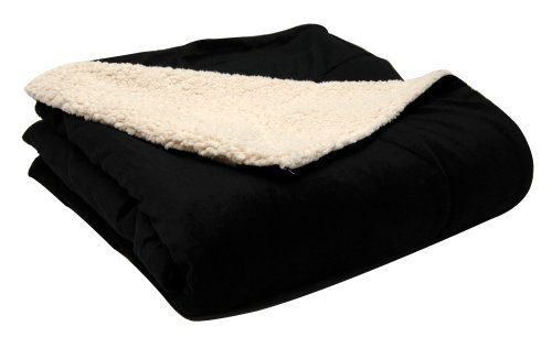 LCM Home Fashions 50-Inch by 60-Inch Micromink/Sherpa Throw, Black