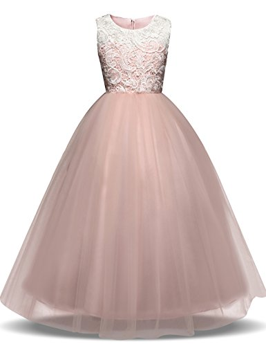 TTYAOVO Girl Lace Tulle Flower Princess Party Maxi Dresses Kids Prom Ball Gown Size 8-9 Years Pink (Dresses Pink Ball Gown)