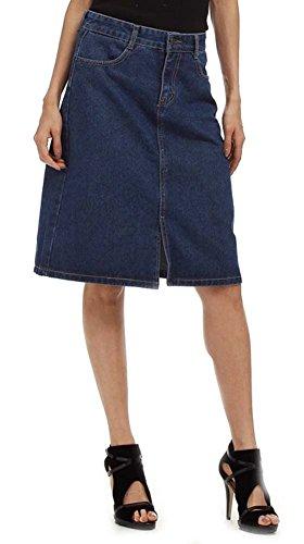 QZUnique Women's A-Line High Waist Split Raw Denim Skirt Dark Blue US S (Denim Skirt Split)