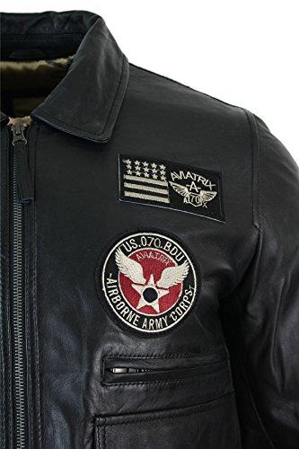 Aviatrix Blouson Homme Cuir véritable Bleu Badges Style Pilote air Force Bomber 4
