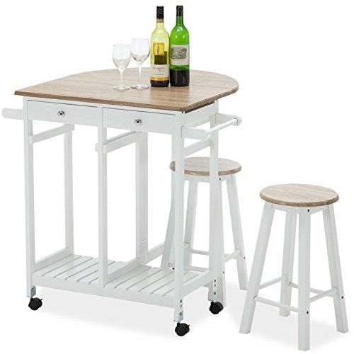 Kitchen Rolling Cart Storage Trolley Island Wood Dinning Table 2 Stools 2 Drawers Set Oak Wood