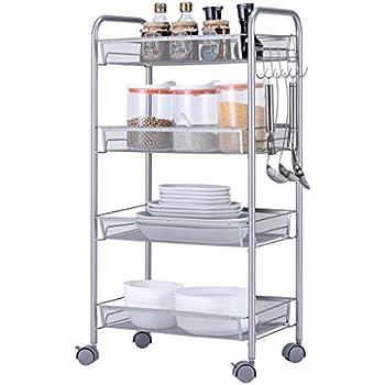 Amazon Com Xfpink Kitchen Island Carts 4 Layer Storage