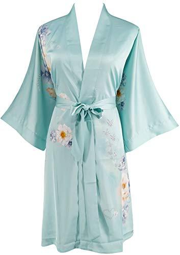 - Ledamon Women's Silk Satin Kimono Short Robe - Classic Floral Nightgown Bathrobe Sleepwear (Light Blue)