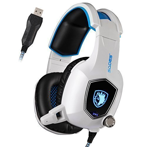 Sades AW50 USB Stereo Gaming Headset USB Over Ear Headphones with Mic, Bass Vibration, Noise-Reduction, Volume Control for PC Computer Laptop (White)