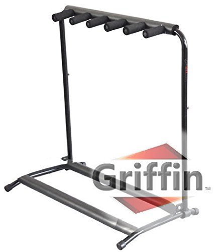 Studio Rack Stand (Five Guitar Rack Stand by Griffin | Holder for 5 Guitars & Folds Up For Easy Transport | Neoprene Tubing For Protection | Ideal For Music Bands, Recording Studios, Schools, Stage Performers & Artists)