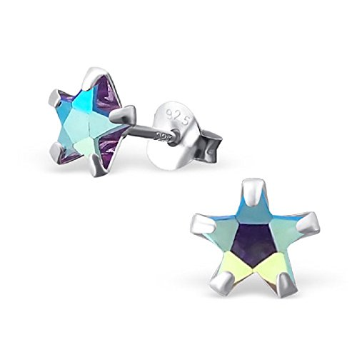 925 Sterling Silver 6mm AB Amethyst CZ Star Stud Earrings (Crystal Ab Star)