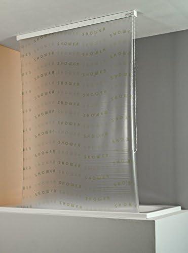 ECO-DuR 4024879003074 Color Blanco dise/ño con Texto Shower Cortina de Ducha Enrollable 134 cm